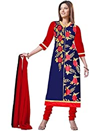 Gopal Retail Chanderi Printed Semi-stitched Salwar Suit Dupatta Material(RedFlower_Red)