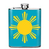 deyhfef Men and Women Thick Stainless Steel Hip Flask 7 OZ Philippines Flag Golden Sun Pocket Container for Drinking Liquor Rum