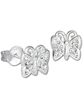 SilberDream Kinder Ohrringe Schmetterling Zirkonia weiß 925er Sterling Silber SDO094W