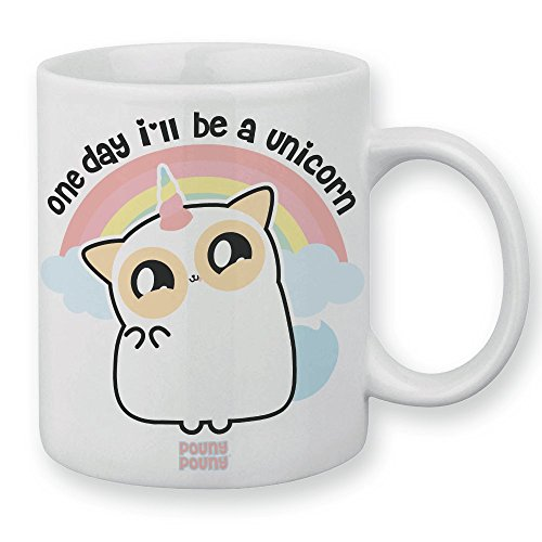 "Mug Pouny Pouny ""One day i'll be a unicorn"" Tazza con arcobaleno in colori pastello, Chibi e Kawaii - Chamalow Shop"