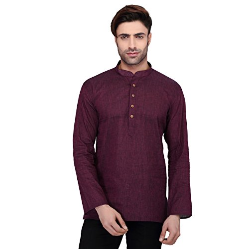RG Designers Men's Full Sleeve Short kurta AVHandloomShort-Maroon  available at amazon for Rs.549