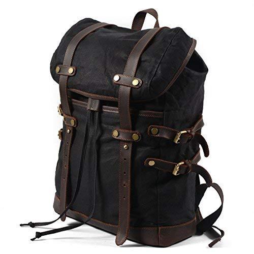 Canvas Rucksack für Herren Vintage 15,6 Zoll Laptop Bookbag Leder Rucksack für Reisen groß schwarz schwarz X-Large (Herren Canvas Gewachstem Rucksack)