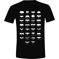 Camiseta con todos los logos de Batman para hombre, color negro, talla M/M