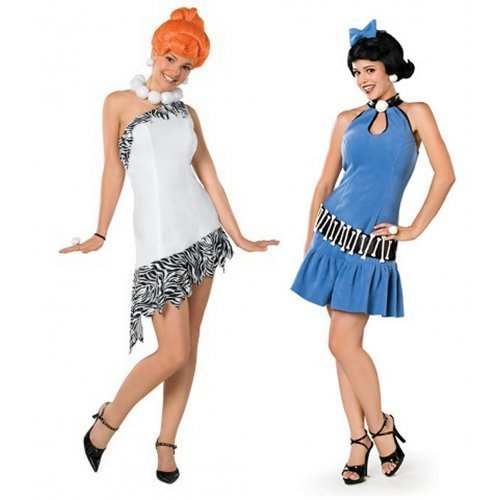 (by Ladies Sexy Couples Wilma Flintstone & Betty Rubble 1960s Halloween Fancy Dress Costumes Outfits (Wilma 6-8 & Betty 12-14))