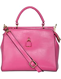 Fiona Trends Pink PU Zipper Hand Held Bag