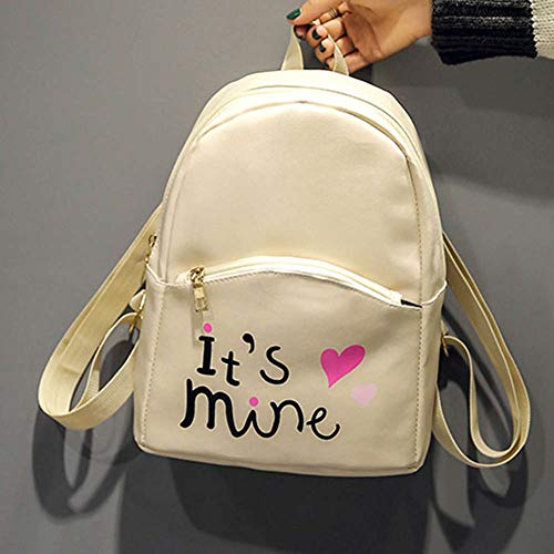 Bizarre Vogue Cute Medium It's Mine Printed Style Backpack College bag for Girls (Cream,BV1210) Image 4