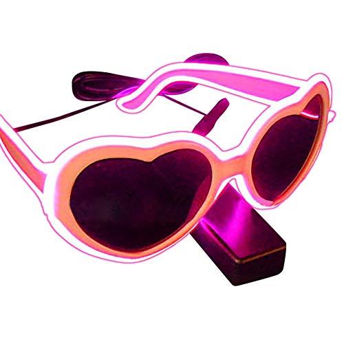 PinkLu GläSer Damen LED-Lichtbrille Neues Design HerzföRmige Linse Beliebt Mode Temperament Sommer Neuer HeißEr Verkauf Rosa Blaue GrüNe Gelbe GläSer