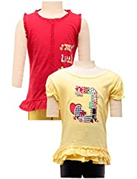 Red 'my little pony' tunic and pale yellow 3 applique tunic combo