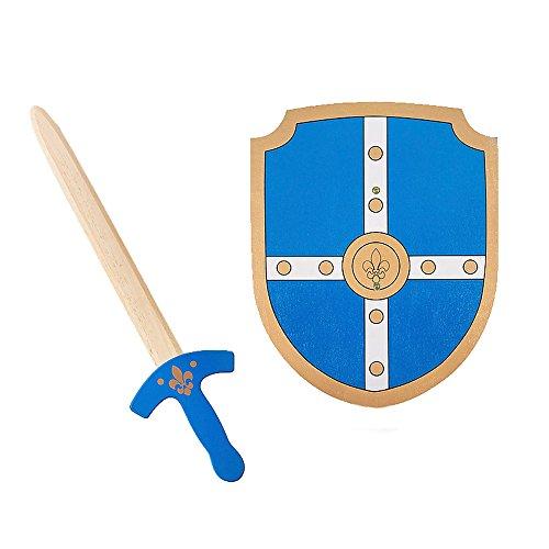 BuitenSpeel GA253 - Schwert und Schild aus Holz, blau