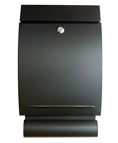 Preisvergleich Produktbild IPRIME Briefkasten mit Zeitungsbox Zeitungsrolle Verzinkter Stahl 41,0 cm x 24,5 Schwarz matt