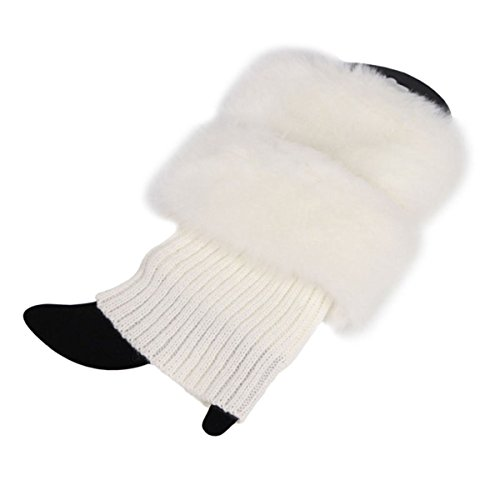 ECYC® Womens Winter warme häkeln stricken Pelz Trim Beinlinge Manschetten Toppers Boot Socken, weiß