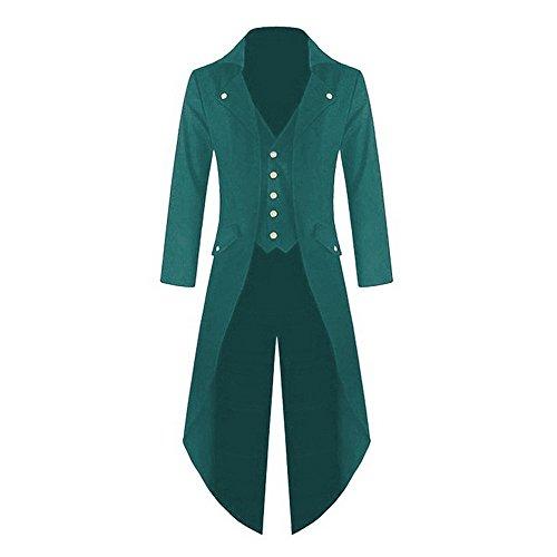 Shujin Herren Vintage Frack Steampunk Gothic Jacke Viktorianischen Langer Mantel Fasching Karneval Cosplay Kostüm Smoking Jacke Uniform (Grün, ()
