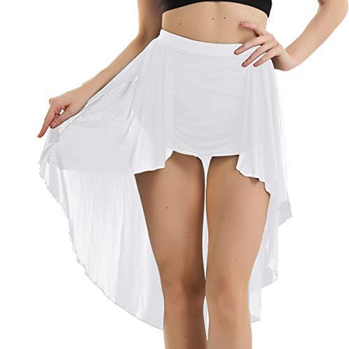 iixpin Damen Ballett Rock Chiffon Wickelrock Luftiges Ballettröckchen Asymmetrische Tanz-Kostüm Latein Rumba Rock Dancewear Minirock Tanzrock Weiß Small