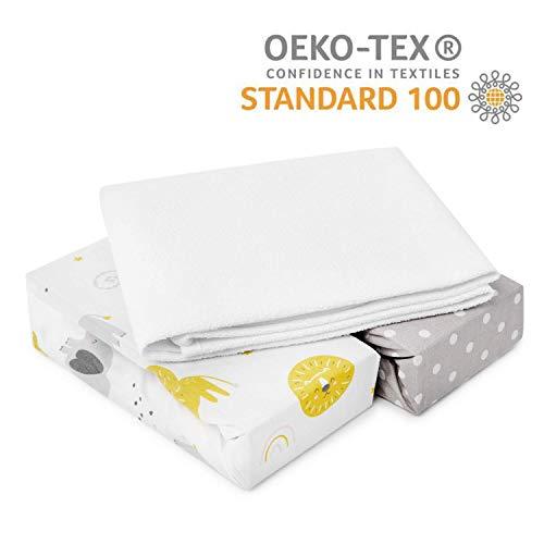 Parure 3 Pcs - 2x Draps Housses Next to Me 50x83cm + 1 Alèse Protégé Matelas 50x83cm Imperméable pour Berceau / 100% Pure Coton Compatible avec Cododo Couffin Chicco/Lullago/Cert. OEKO-TEX