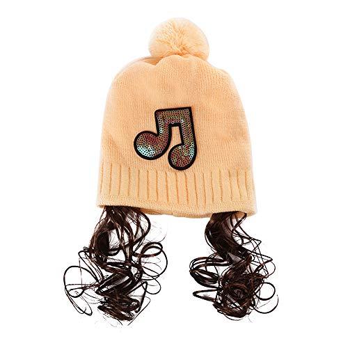 Antrygobin Baby Mädchen Herbst Winter Paillette Musik Mark Perücke Beanie Cap Strickball ()