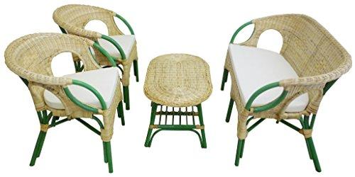 Sf savino filippo set completo salotto in vimini bambù e rattan mandolino chiaro naturale e verde divano poltrone tavolo da giardino balcone terrazzo veranda casa portico