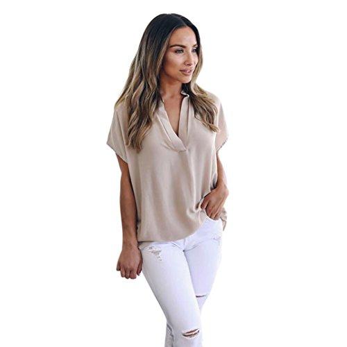 VJGOAL Damen T-Shirt, Damen Mode Kurzarm Lose Beiläufige Knopf Bluse Mädchen Sommer Tank Tops (L/46, C-Khaki)