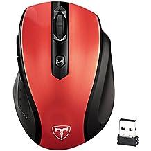 Ratón Inalámbrico de VicTsing, Portátil 2.4G con Receptor Nano, 6 Botones, 2400DPI, 5 DPI Adjustables (Rojo)