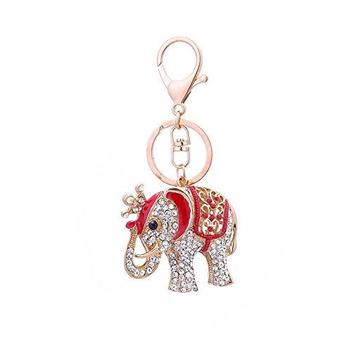 Yeshi Moda Elefante Rhinestone Adorno Llavero Llavero Cadena Bolsa Coche Colgante Decoración, Aleación, rosso