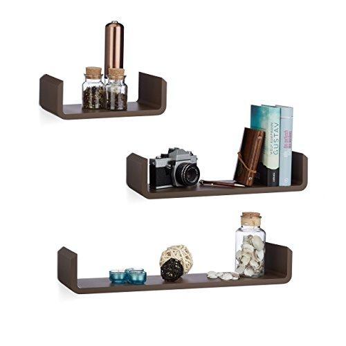Relaxdays Regalbrett 3er Set, Hängeregal Wand, Wandboard Holz, Gewürzregal hängend, Wandregal, U-Form, MDF, braun
