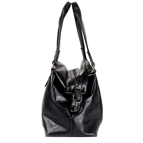 Yy.f Herrenhandtasche Mode Messenger Bag Reisen Schultertasche Lässige Ledertasche Große Geschäftsreise Arbeitstasche Computer-Tasche Black