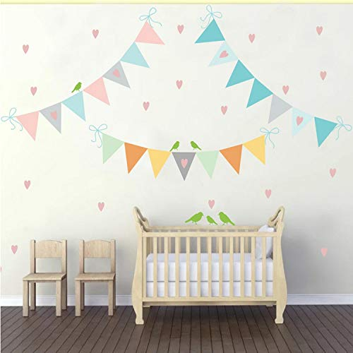 Kyzaa Bunte Flags Kette Mit Rosa Herzen & Vögel Wandaufkleber Für Kinderzimmer Baby Room Diy Vinyl Wall Decal Kinder Home Decortion