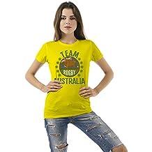 Team Australia Rugby Ladies Camiseta Para Mujer Retro T-Shirt