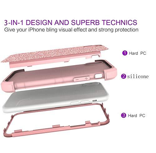 QINPIN TPU Bumper Glitter Sparkle Stars Bling Schutzhülle für iPhone XS MAX 6.5inch/XS 5.8inch/XR...