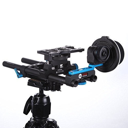 Fotga DP500IIS DSLR Schnellspanner 15mm Schiene Rod Support Käse Basisplatte + DP3000 M1 Follow Focus für alle DSLR-Kameras und Video-Camcorder für Matte box 5DII III IV A7 A7R A7S II III A9 A6300 A6500 A9 GH4 GH5 GH5s Kamera - Matte Box Rod Support