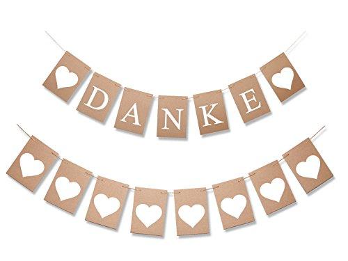 irlande DANKE + Wimpelkette mit 8 Herzen aus Kraft-Papier mit Jute-Garn natur/für Hochzeit-Shooting und als Dekoration für Geschenketisch und Location (Danke Herz)