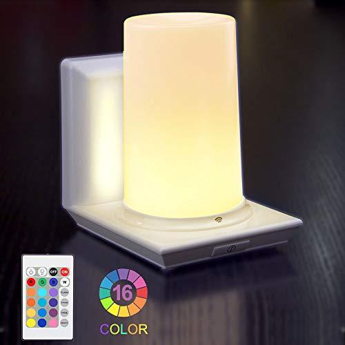 Lampe de Chevet Sans Fil HONWELL 16 Couleurs RGB Lampe de Table Commande à Distance de la Lumière Gradateur Alimenté Batterie Lumière Intérieur