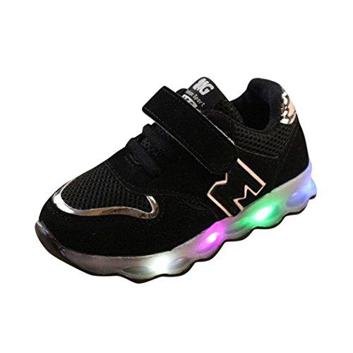 FNKDOR Kinder Baby Schuhe mit Licht LED Leuchtende Blinkende Sneaker 20-29 Turnschuhe Unisex(24 EU(25CN) 15CM,Schwarz)