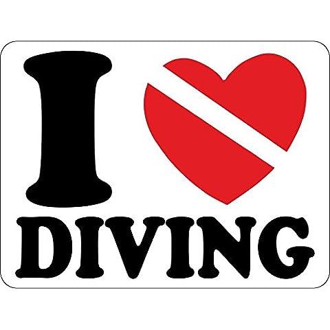 Autocollant sticker macbook laptop voiture moto i love diving club plongee scuba