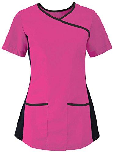 Alexandra Stretch Scrub Top da donna a collo, lato anteriore elasticizzato, da lavoro multicolore Pink/ Black