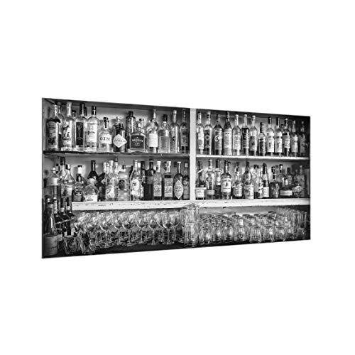 Bilderwelten Spritzschutz Glas - Bar Schwarz Weiß - Querformat 1:2, HxB: 40cm x 80cm -