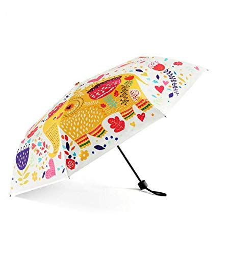 GONGFF Paraguas Creativo Elefante Plegable Paraguas Lindo Mini Compacto Ligero Viaje Paraguas Lluvia Mujeres Hombres Impermeable/Parasol de protección UV, A