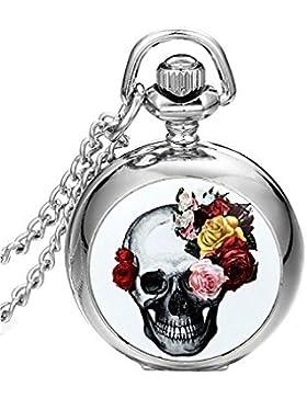 SAMGU Schmuck Halskette Quarz Taschenuhr Pink Flower Skull Gothic Teufel Retro Weihnachten Halloween Abend Farbe...