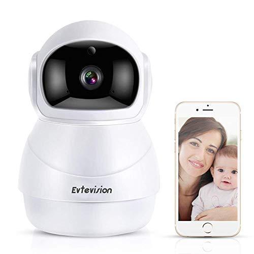 Evtevision HD IP Kamera,1080P Überwachungskamera Wifi IP Kamera, WLAN Innen Smart Home Kamera mit Nachtsicht, Bewegungsalarm, Pan Tilt, 2 Wege Audio, Haus Monitor Baby Monitor