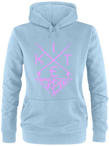 EZYshirt® Kitesurf Crew Damen Hoodie Hellblau/Rosa