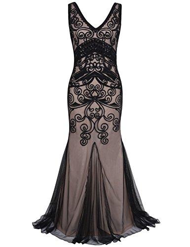 r Maxi Lange Meerjungfrau Formelle Gatsby Flapper Abendkleid XL Schwarz Beige (Flapper Kostüm Plus Size)