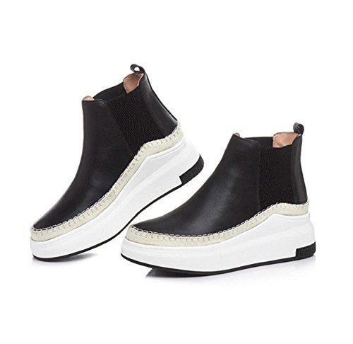 YYH Dames en cuir véritable plate-forme chaussures loisirs Martin Stiefel College style filles Joker cheville Bootie Black