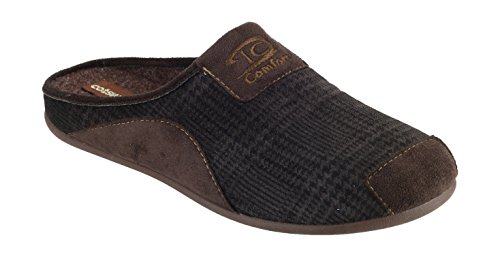 Cotswold Mens Westwell Mule Comfortable Textile Lined Slippers Brown brown