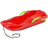 Luz rojo trineo Race, plástico nieve con purpurina, cuerda para tirar y frenos para dirigir