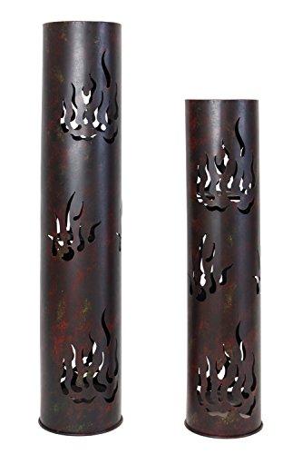 """Frank Flechtwaren, 229219: Windlicht-Säule \""""Flammen\"""" im 2er Set aus Metall, lackiert in matt schwarz und patiniert in braun, gelb und rot, Kerzen herausnehmbar (Höhe 80cm und 99cm)"""