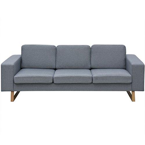 Festnight 3-Sitzer Sofa Stoff Polstersofa Loungesofa Couch Stoffsofa Wohnzimmer Sitzmöbel mit Holzrahmen 200x82x76cm Hellgrau