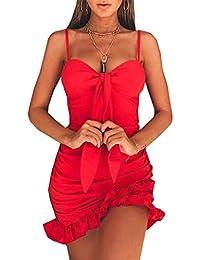VJGOAL Vestido Corto sin Tirantes Atractivo sin Tirantes del Coctel Rojo sin Mangas de Las Mujeres