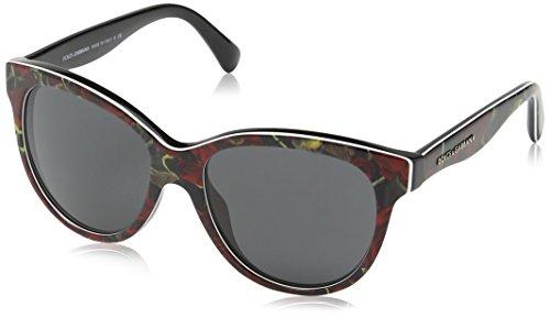 Dolce & Gabbana Damen DG4176 Sonnenbrille, Mehrfarbig, Rot/Schwarz 293887), Small (Herstellergröße: 49)