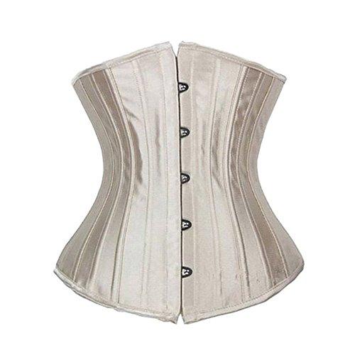 Beauty-You Damen Unterbrustkorsett Brokatmuster Spiralstbe Taillenformer Shaper Schwarz, Beige Satin Steel boned, M/DE 34-36 (Bustier Schwarze Satin-korsett)