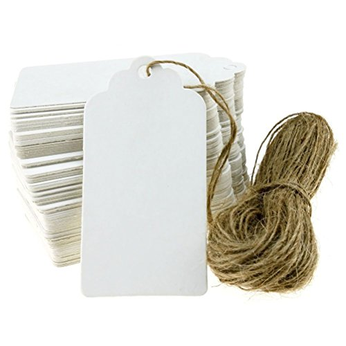 PIXNOR Gift Tags 100pcs 90 * 45mm festoneado blanco