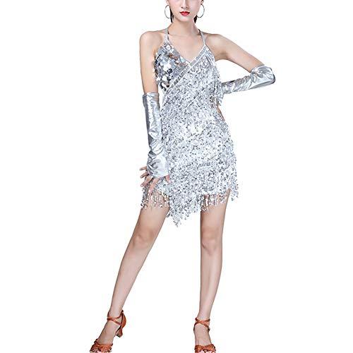 Kostüm Tango Kleid - uirend Tanzsport Bekleidung Kleider Röcke Damen - Mädchen Franse Pailletten Kleider Tanzkleid Latein Kostüm Turnierkleid Salsa Tango Kleid Samba Rumba Ballsaal Cha Cha